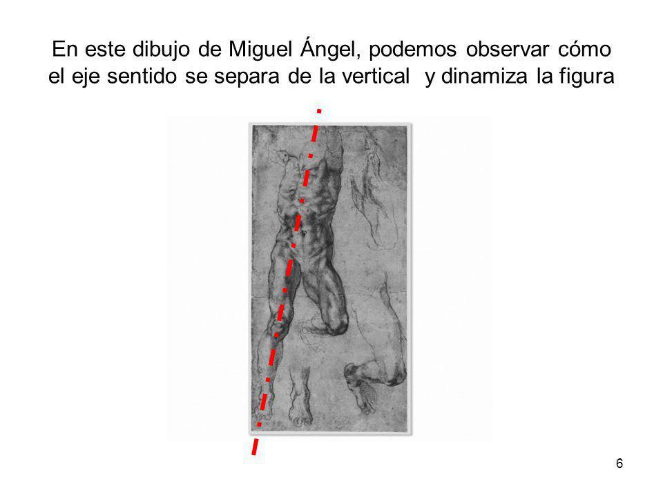 En este dibujo de Miguel Ángel, podemos observar cómo el eje sentido se separa de la vertical y dinamiza la figura