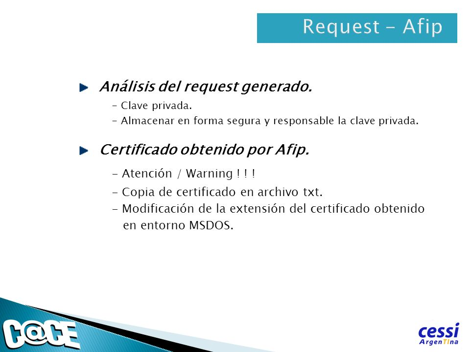 Request - Afip Análisis del request generado.