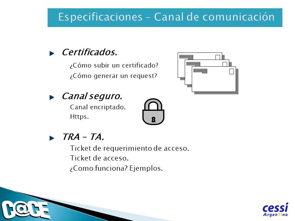 Especificaciones – Canal de comunicación