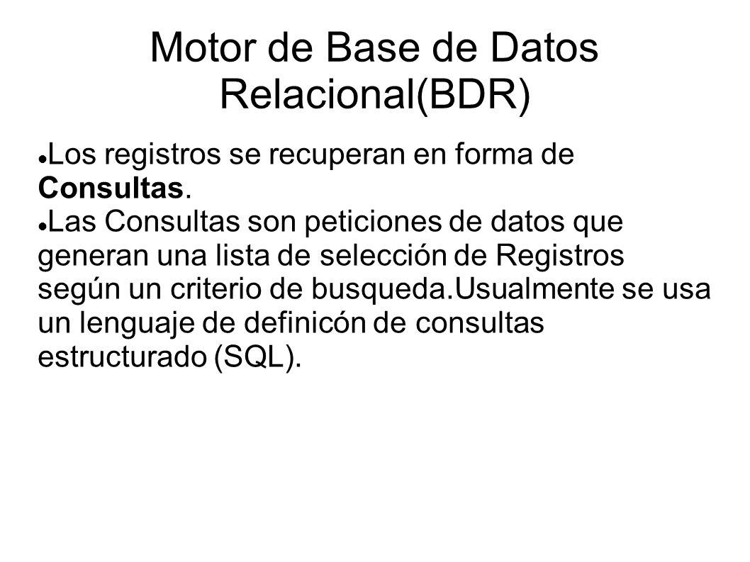 Motor de Base de Datos Relacional(BDR)