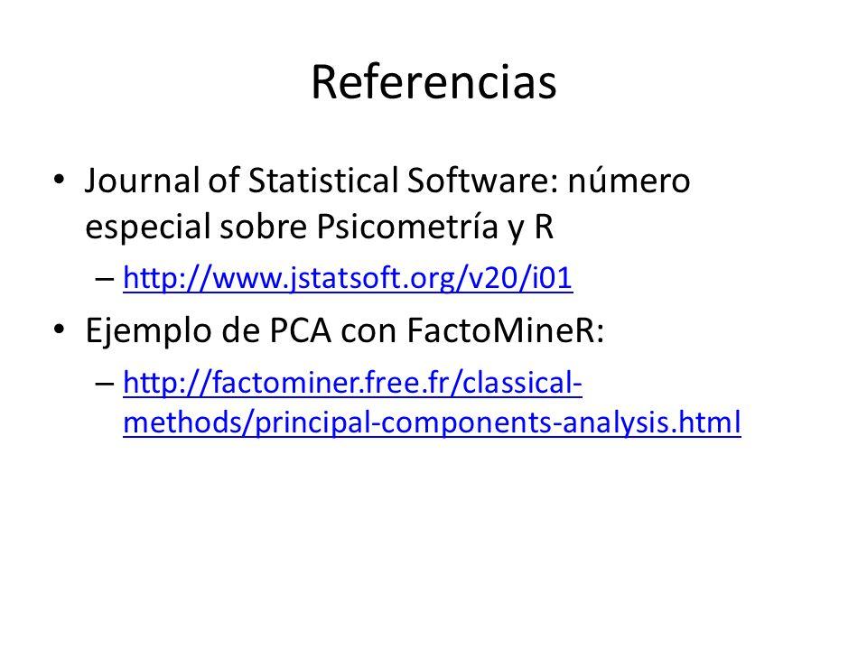 ReferenciasJournal of Statistical Software: número especial sobre Psicometría y R. http://www.jstatsoft.org/v20/i01.
