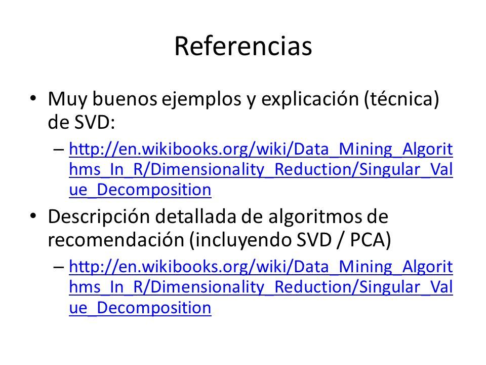 Referencias Muy buenos ejemplos y explicación (técnica) de SVD: