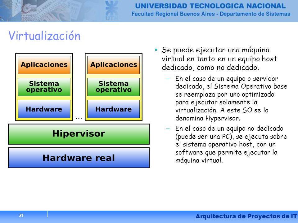 Virtualización Se puede ejecutar una máquina virtual en tanto en un equipo host dedicado, como no dedicado.