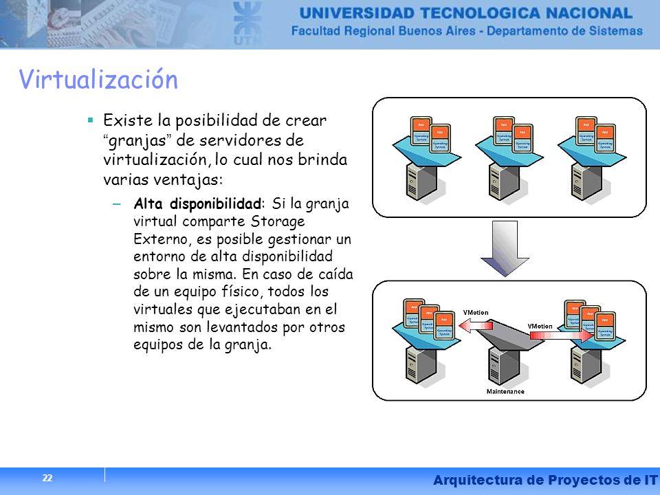 Virtualización Existe la posibilidad de crear granjas de servidores de virtualización, lo cual nos brinda varias ventajas: