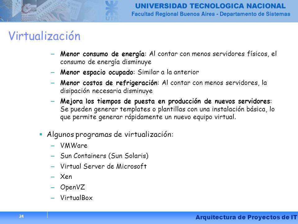 Virtualización Algunos programas de virtualización: