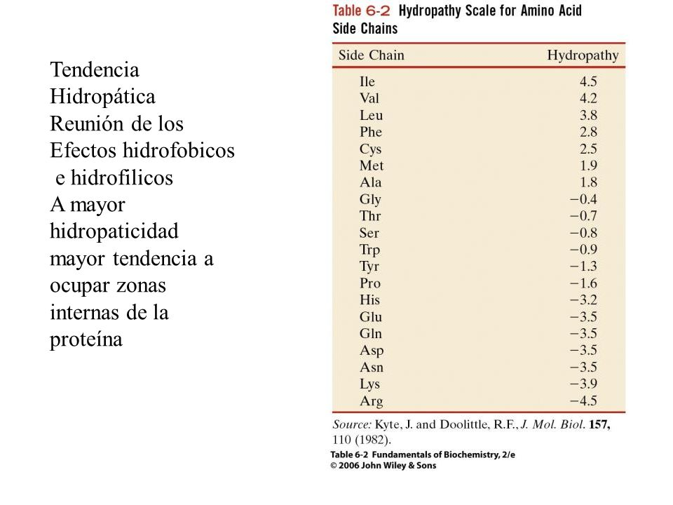 TendenciaHidropática. Reunión de los. Efectos hidrofobicos. e hidrofilicos.