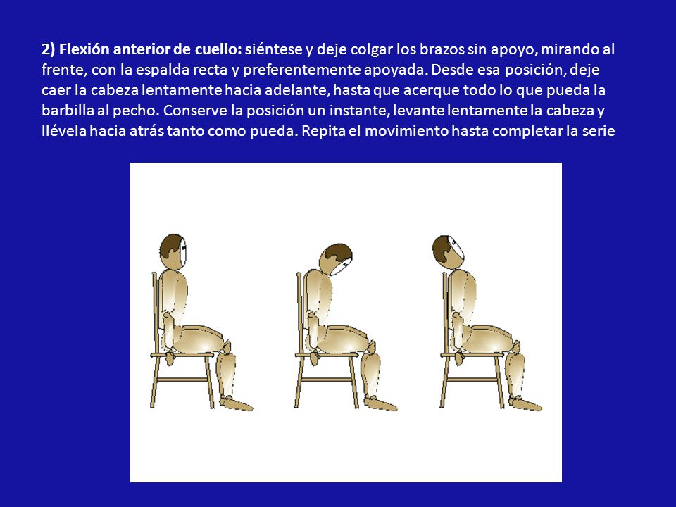 2) Flexión anterior de cuello: siéntese y deje colgar los brazos sin apoyo, mirando al frente, con la espalda recta y preferentemente apoyada.