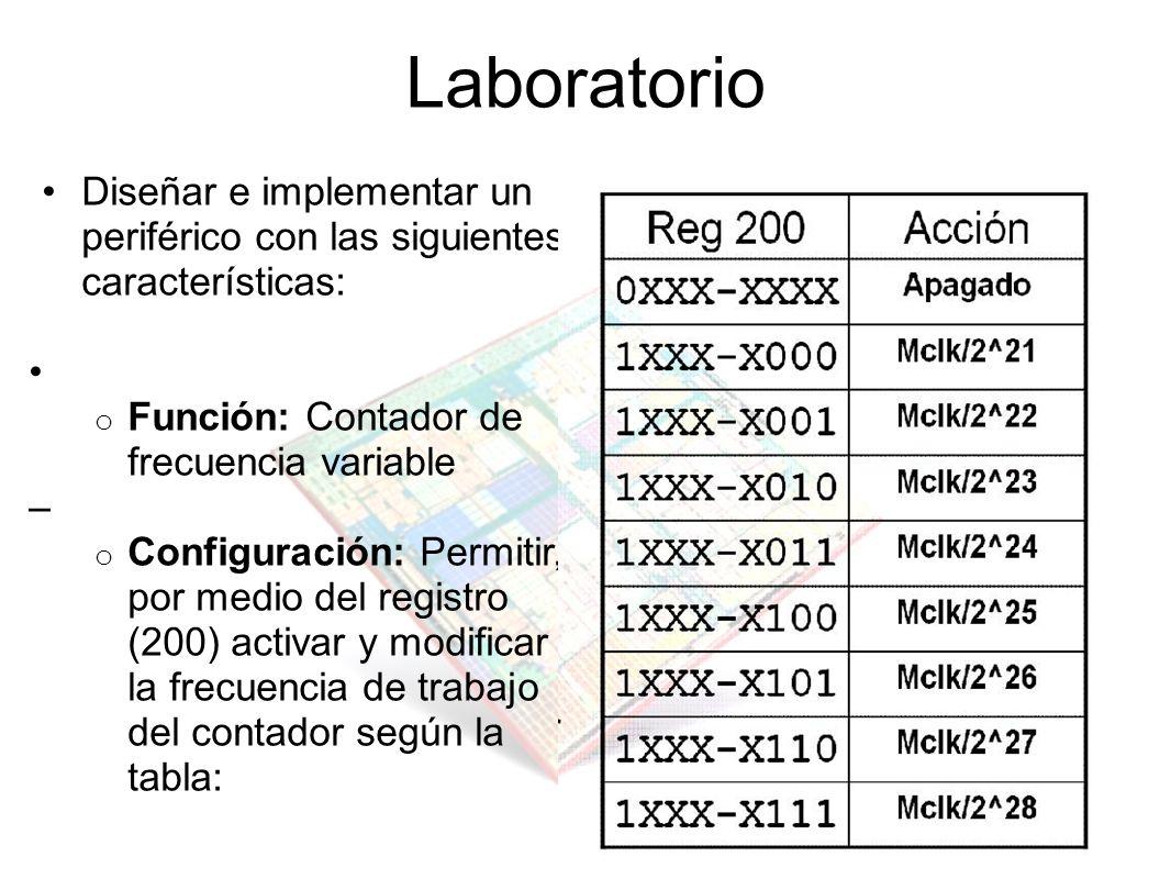 Laboratorio Diseñar e implementar un periférico con las siguientes características: • Función: Contador de frecuencia variable.
