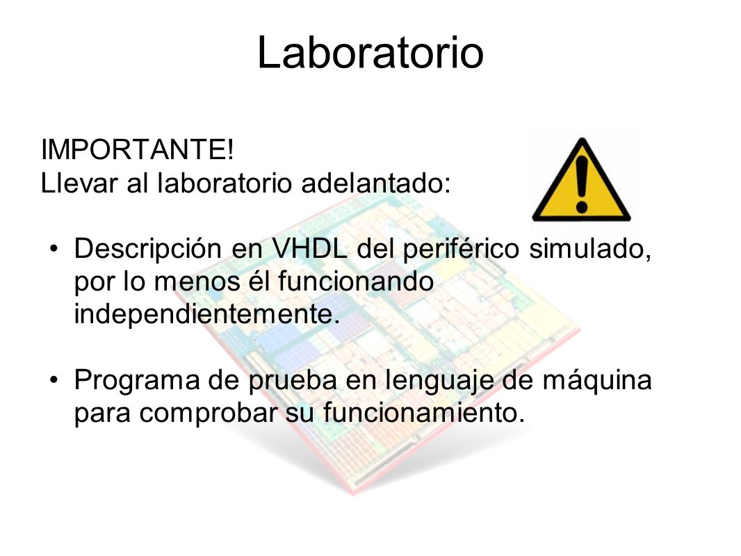 Laboratorio IMPORTANTE! Llevar al laboratorio adelantado: