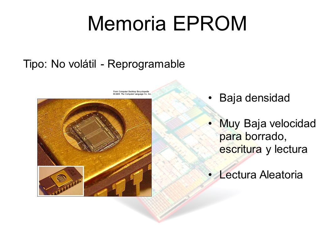 Memoria EPROM Tipo: No volátil - Reprogramable Baja densidad