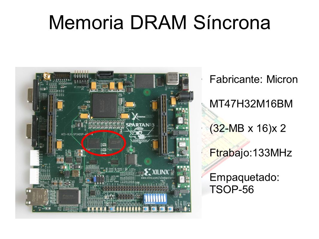 Memoria DRAM Síncrona Fabricante: Micron MT47H32M16BM (32-MB x 16)x 2