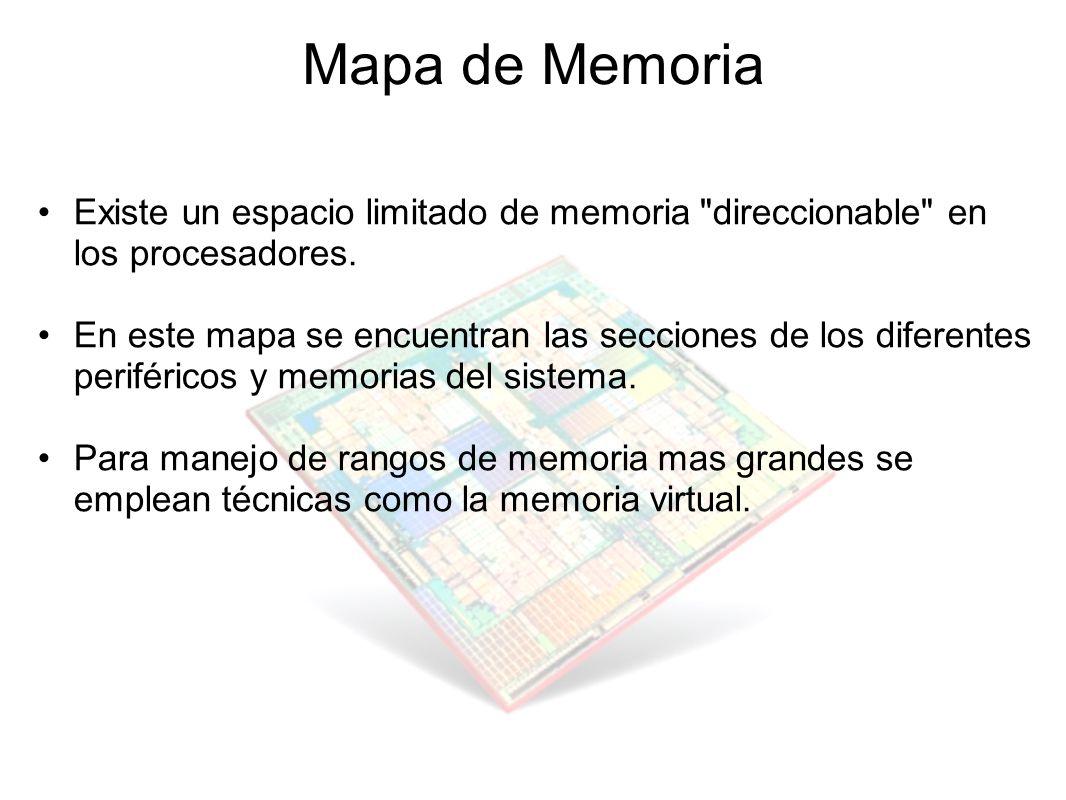 Mapa de Memoria Existe un espacio limitado de memoria direccionable en los procesadores.