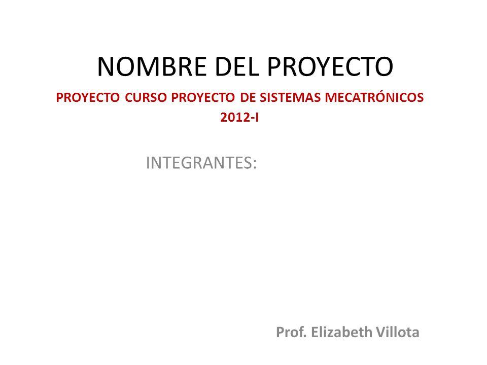 PROYECTO CURSO PROYECTO DE SISTEMAS MECATRÓNICOS 2012-I