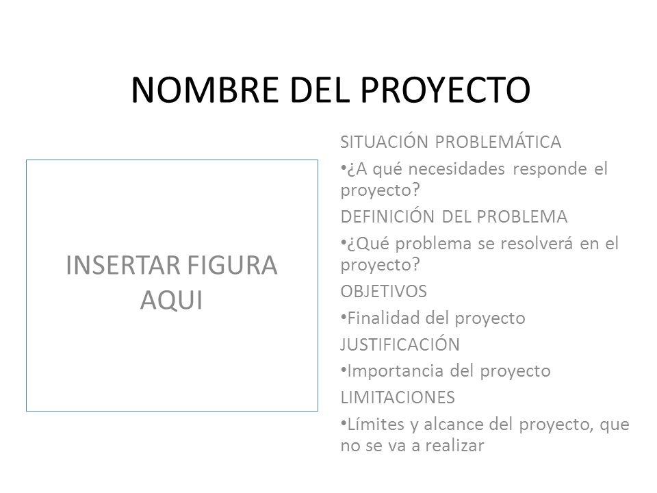 NOMBRE DEL PROYECTO INSERTAR FIGURA AQUI SITUACIÓN PROBLEMÁTICA