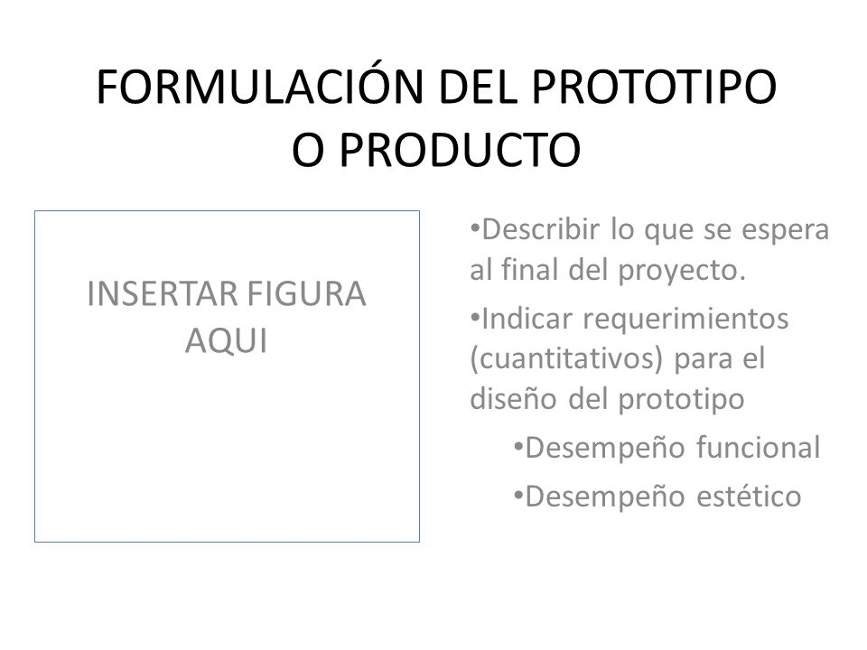 FORMULACIÓN DEL PROTOTIPO O PRODUCTO
