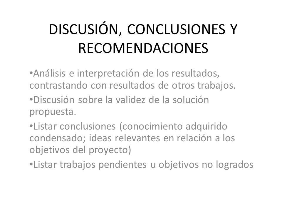 DISCUSIÓN, CONCLUSIONES Y RECOMENDACIONES