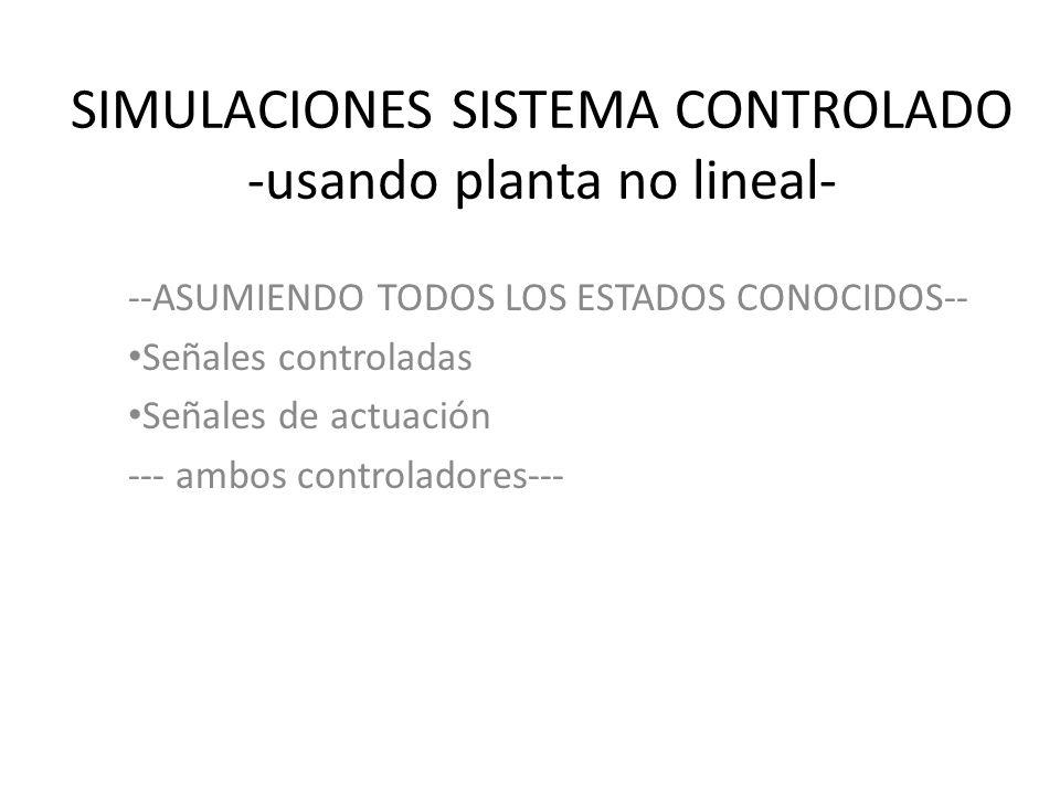 SIMULACIONES SISTEMA CONTROLADO -usando planta no lineal-