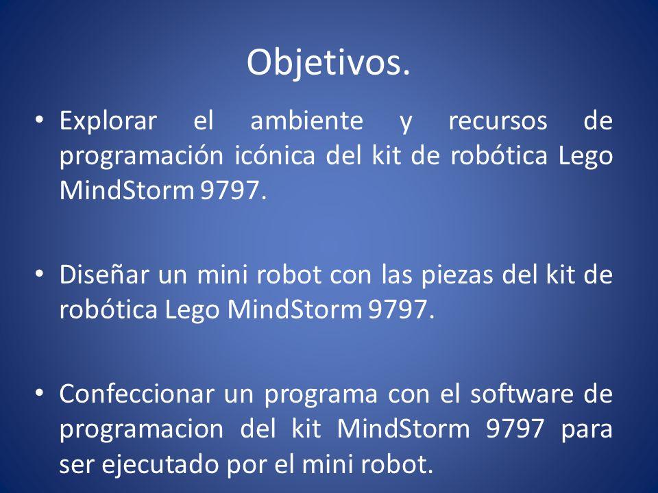 Objetivos.Explorar el ambiente y recursos de programación icónica del kit de robótica Lego MindStorm 9797.
