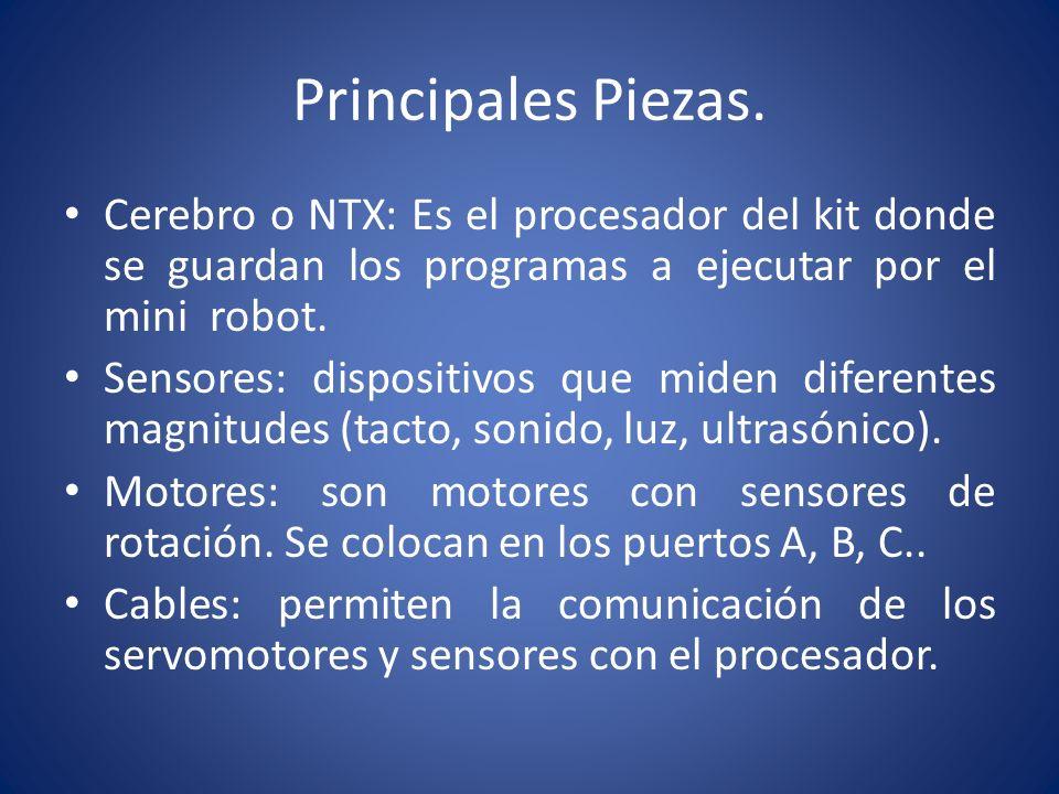 Principales Piezas. Cerebro o NTX: Es el procesador del kit donde se guardan los programas a ejecutar por el mini robot.