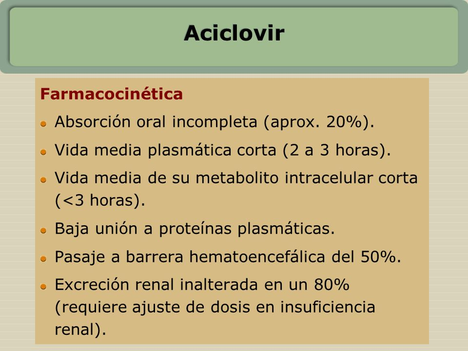 Aciclovir Farmacocinética Absorción oral incompleta (aprox. 20%).