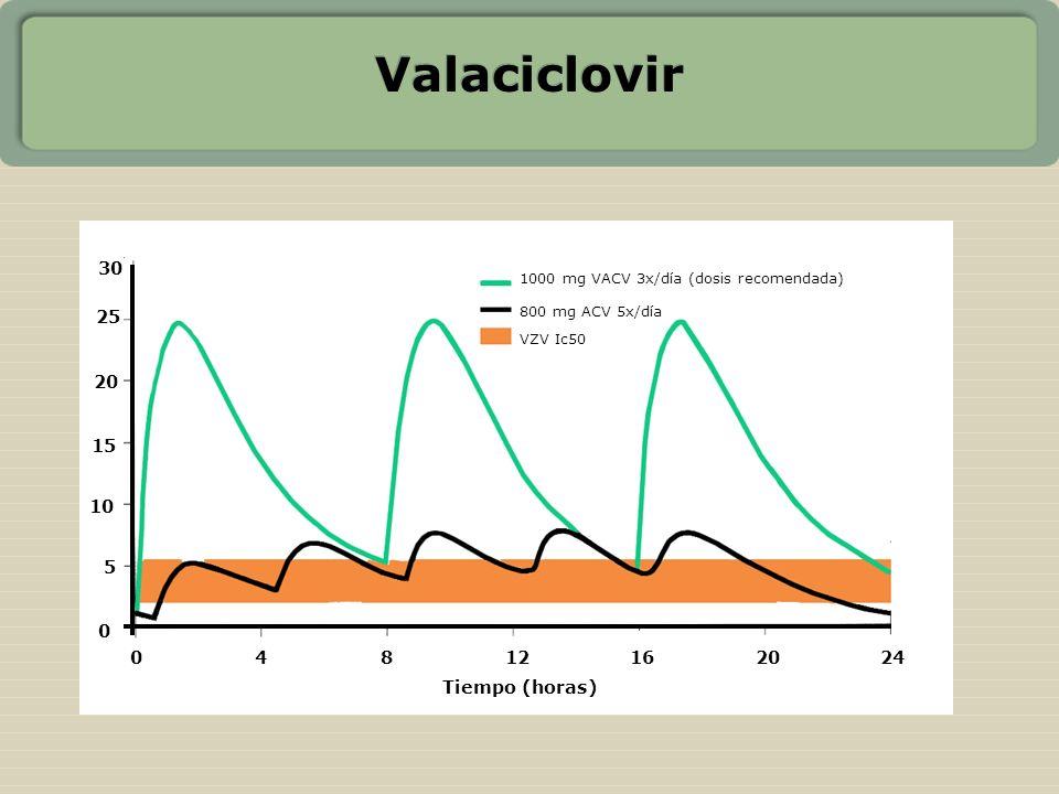 Valaciclovir 30 25 20 15 10 5 4 8 12 16 20 24 Tiempo (horas)