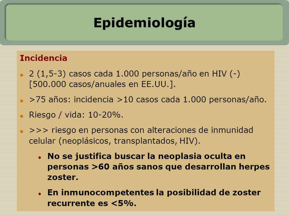 Epidemiología Incidencia