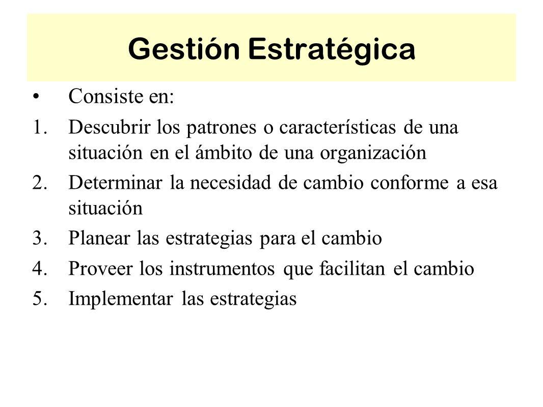 Gestión Estratégica Consiste en: