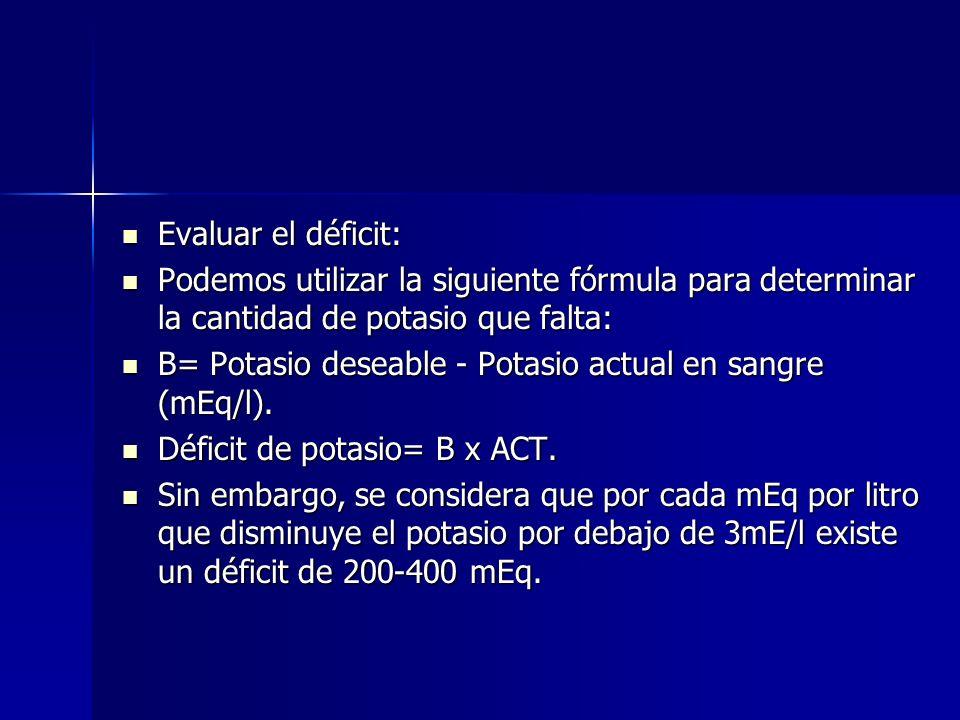 Evaluar el déficit: Podemos utilizar la siguiente fórmula para determinar la cantidad de potasio que falta:
