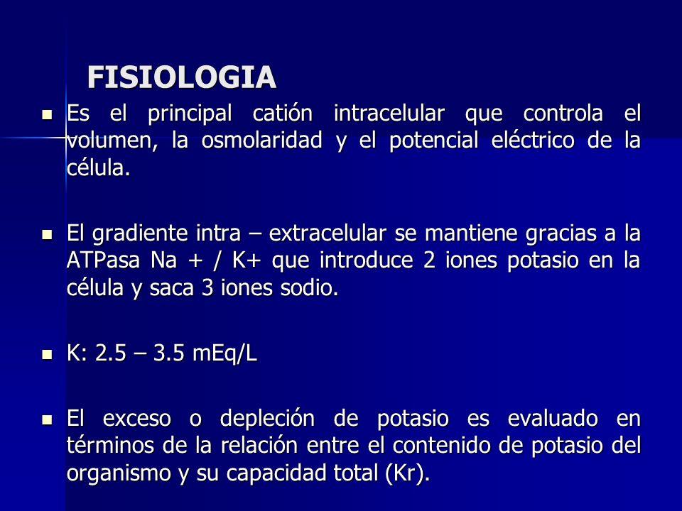 FISIOLOGIA Es el principal catión intracelular que controla el volumen, la osmolaridad y el potencial eléctrico de la célula.