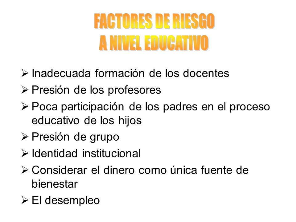FACTORES DE RIESGO A NIVEL EDUCATIVO