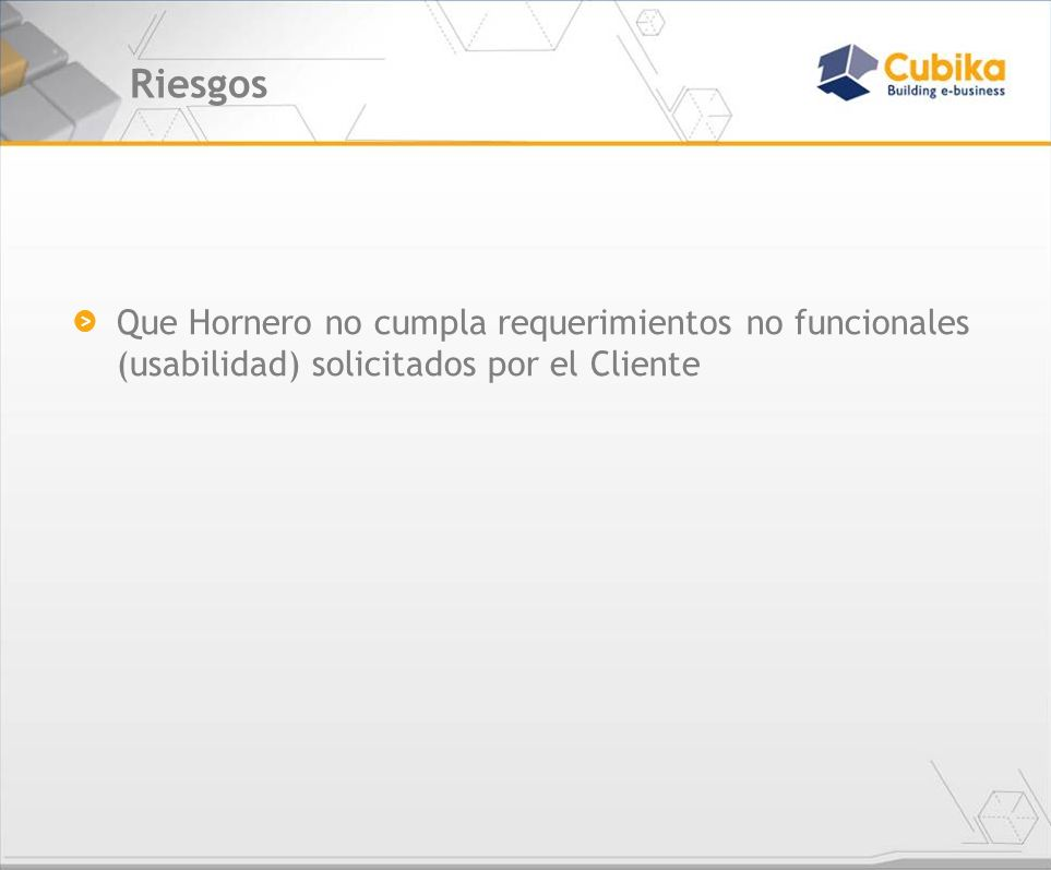 Riesgos Que Hornero no cumpla requerimientos no funcionales (usabilidad) solicitados por el Cliente