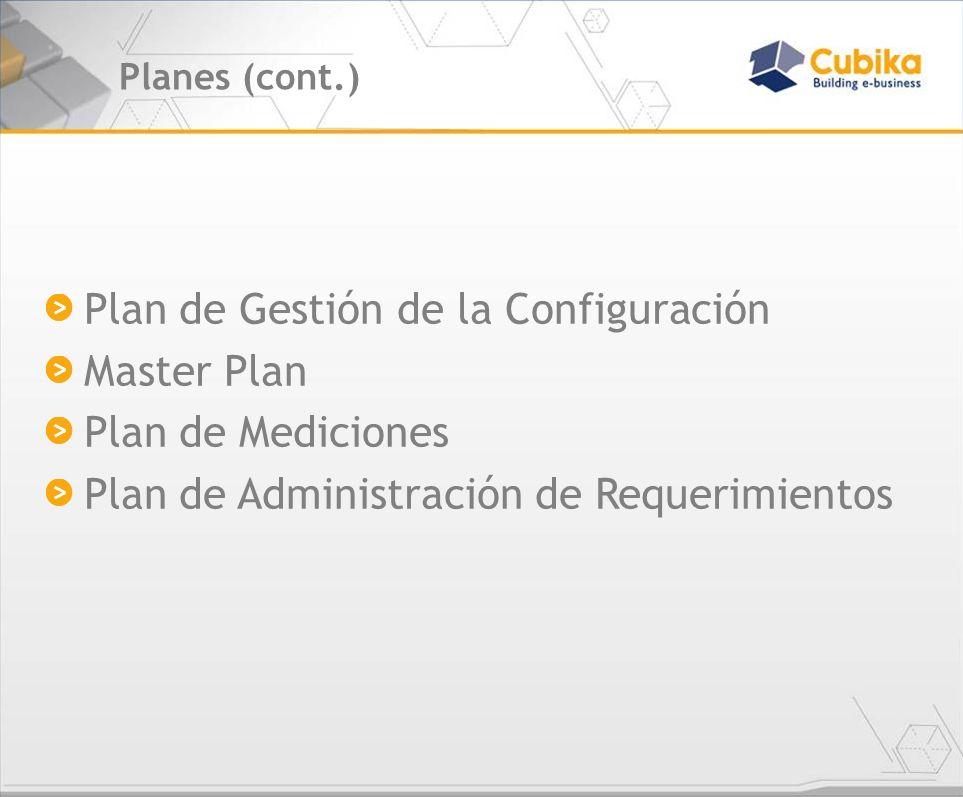 Plan de Gestión de la Configuración Master Plan Plan de Mediciones