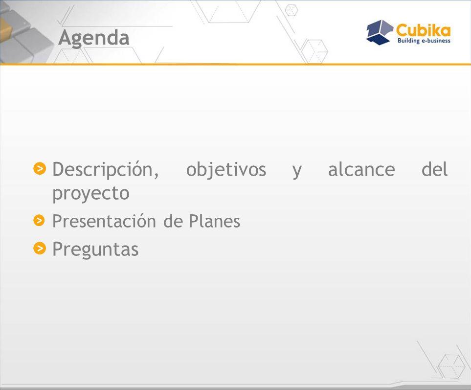 Agenda Descripción, objetivos y alcance del proyecto Preguntas