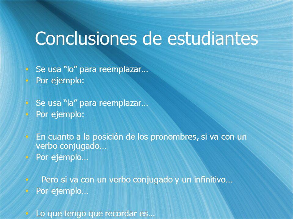 Conclusiones de estudiantes