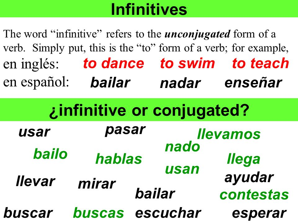 ¿infinitive or conjugated