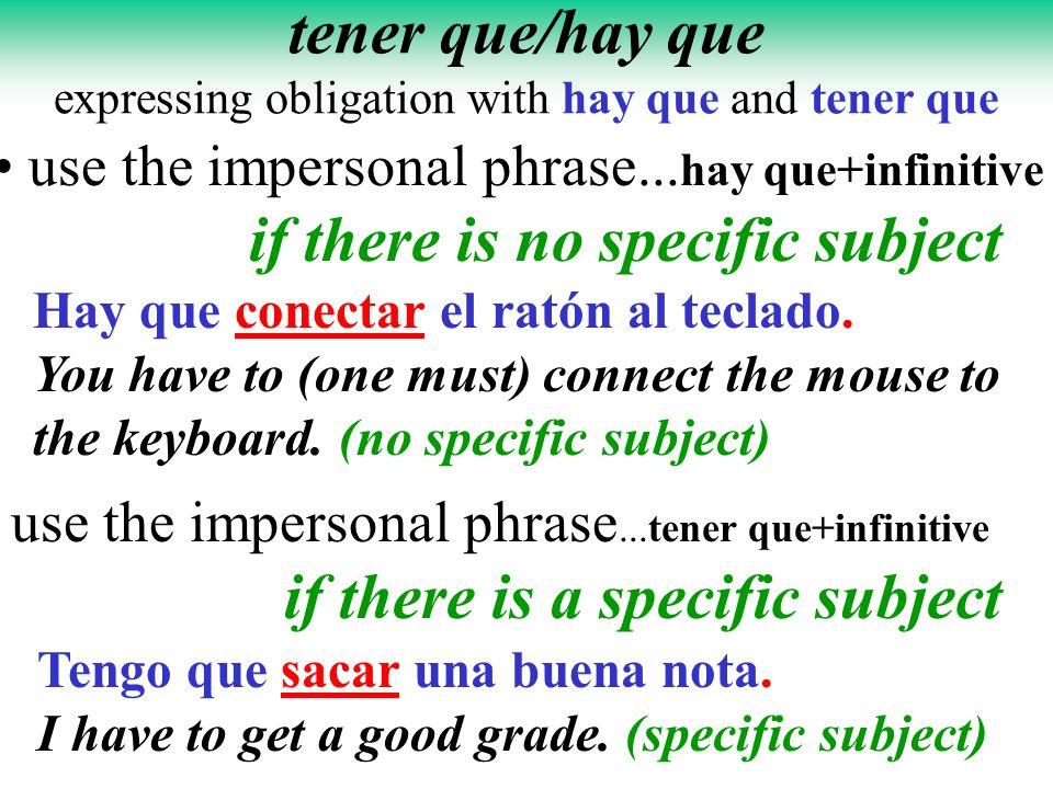 tener que/hay que expressing obligation with hay que and tener que