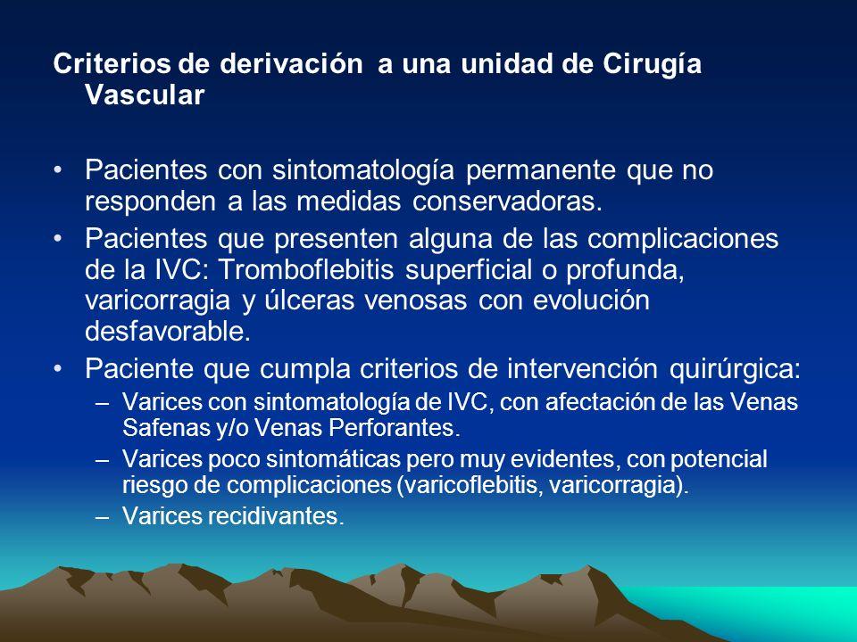 Criterios de derivación a una unidad de Cirugía Vascular