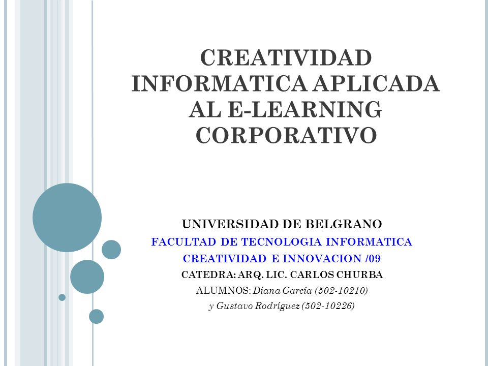 CREATIVIDAD INFORMATICA APLICADA AL E-LEARNING CORPORATIVO