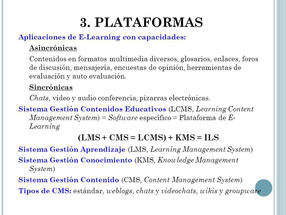 3. PLATAFORMAS Aplicaciones de E-Learning con capacidades: