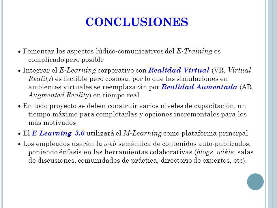 CONCLUSIONES ● Fomentar los aspectos lúdico-comunicativos del E-Training es complicado pero posible.