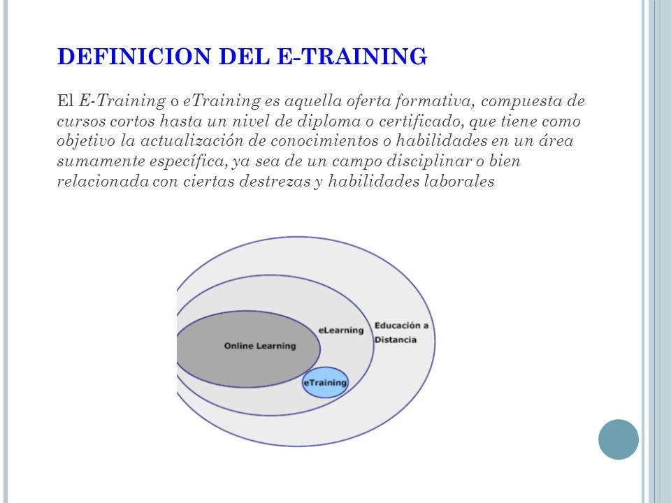 DEFINICION DEL E-TRAINING El E-Training o eTraining es aquella oferta formativa, compuesta de cursos cortos hasta un nivel de diploma o certificado, que tiene como objetivo la actualización de conocimientos o habilidades en un área sumamente específica, ya sea de un campo disciplinar o bien relacionada con ciertas destrezas y habilidades laborales