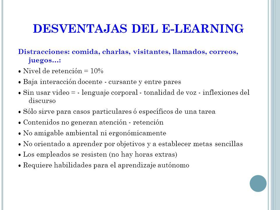 DESVENTAJAS DEL E-LEARNING