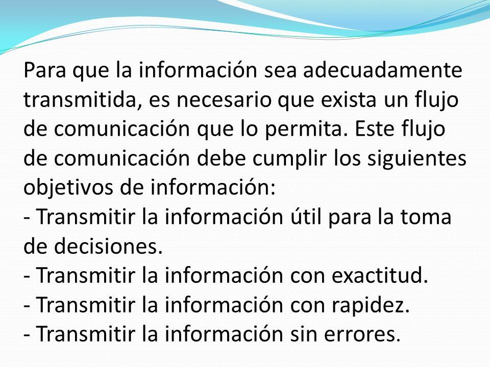 Para que la información sea adecuadamente transmitida, es necesario que exista un flujo de comunicación que lo permita.