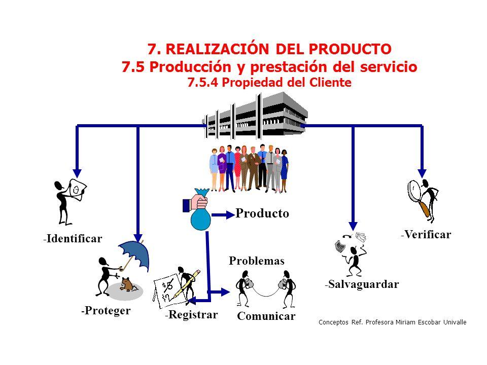 7. REALIZACIÓN DEL PRODUCTO 7.5 Producción y prestación del servicio 7.5.4 Propiedad del Cliente