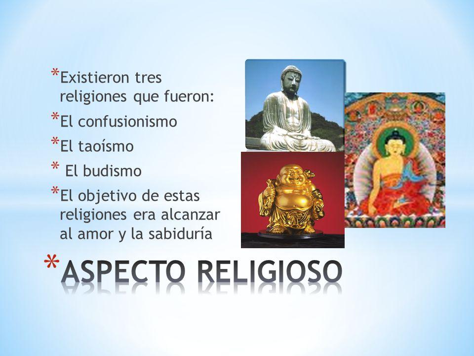 ASPECTO RELIGIOSO Existieron tres religiones que fueron: