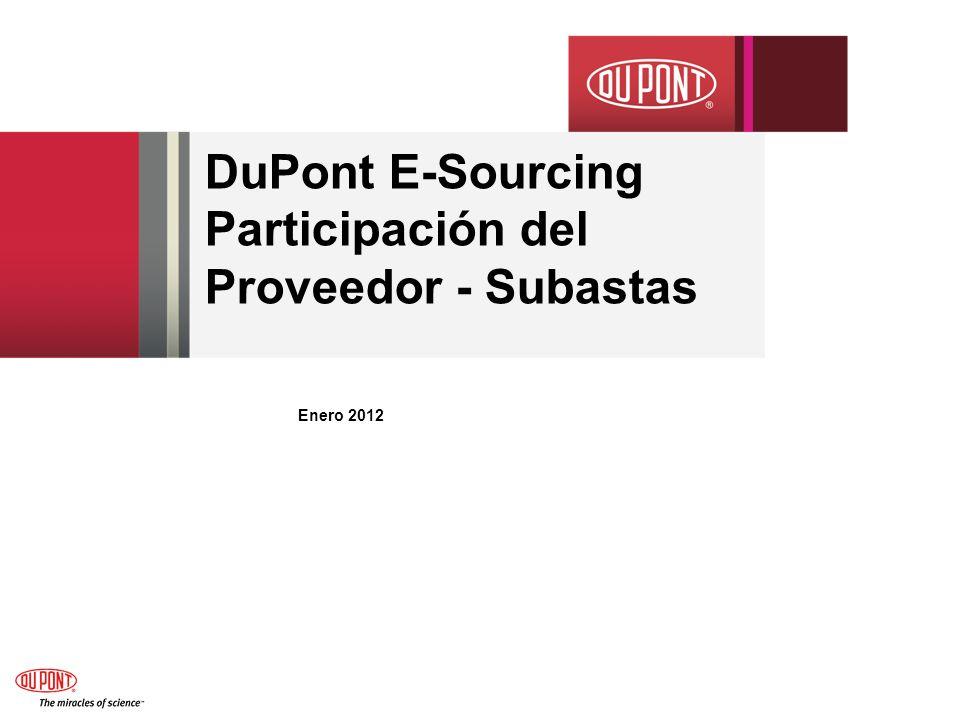 DuPont E-Sourcing Participación del Proveedor - Subastas