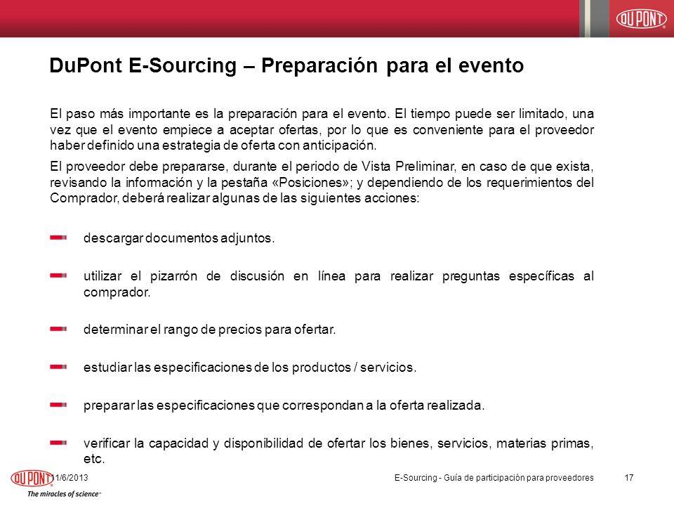 DuPont E-Sourcing – Preparación para el evento
