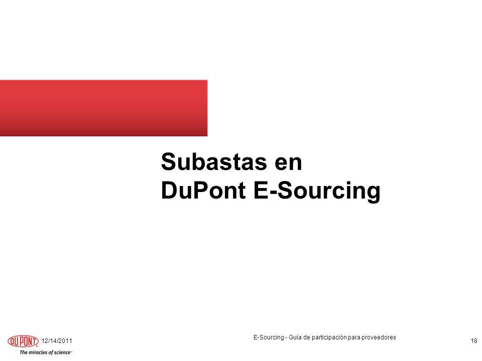 Subastas en DuPont E-Sourcing
