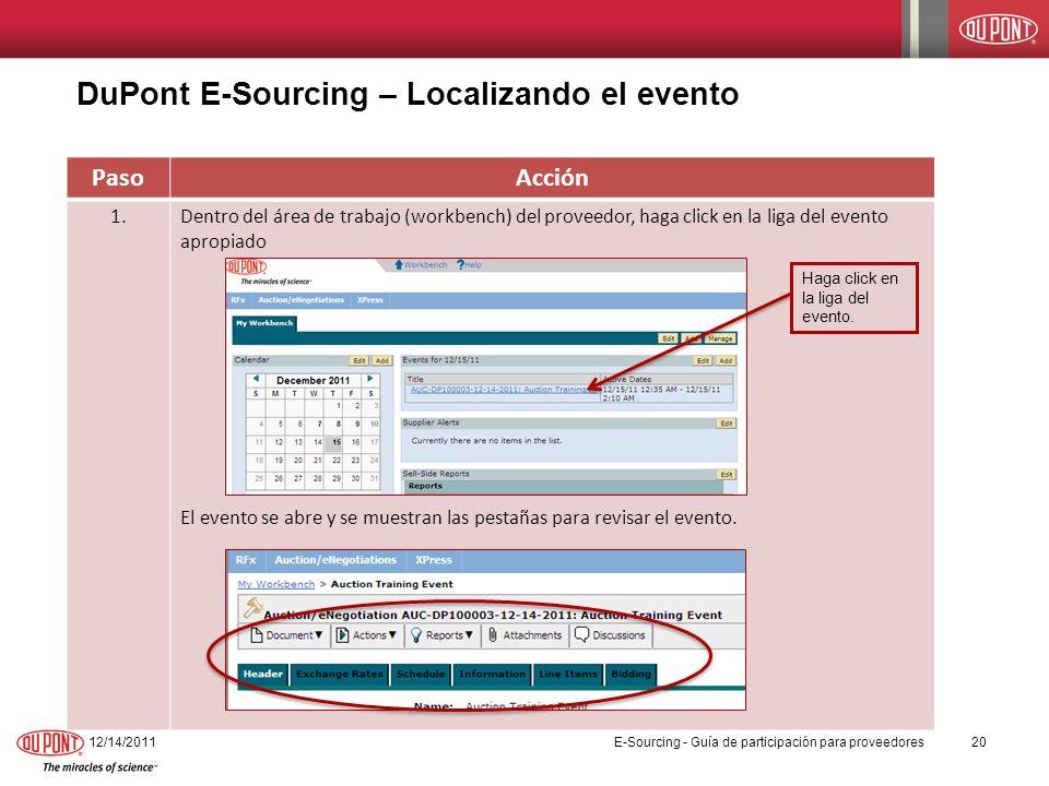DuPont E-Sourcing – Localizando el evento