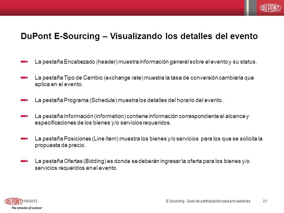 DuPont E-Sourcing – Visualizando los detalles del evento